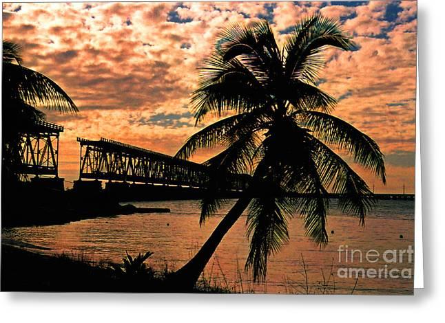 The Old Rail Road Bridge In The Florida Keys Greeting Card