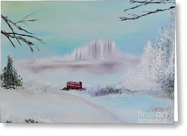 The Old Red Barn In Winter Greeting Card by Alys Caviness-Gober