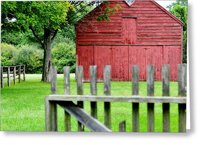 The Old Red Barn Greeting Card by Laura Fasulo