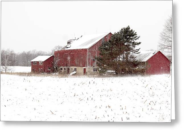 Greeting Card featuring the photograph The Old Red Barn by Nick Mares