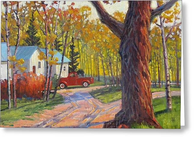 The Old Red Pickup Greeting Card by Susan McCullough