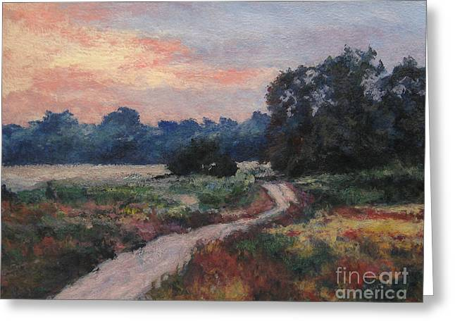 The Old Road At Sunset Greeting Card by Gregory Arnett