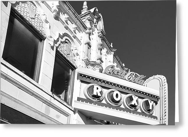 Greeting Card featuring the photograph The Old Roxy Marquee - Atlanta Music Nostalgia by Mark E Tisdale