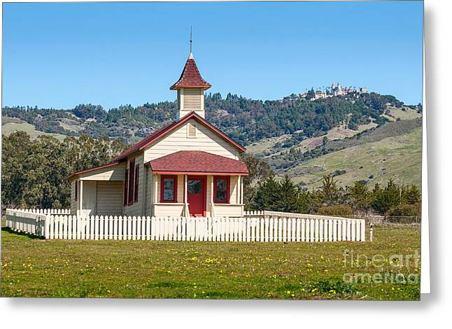 The Old San Simeon Schoolhouse In California With The Famous Hearst Castle In The Background. Greeting Card by Jamie Pham