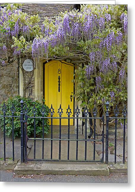 The Old School House Door Greeting Card by Gill Billington