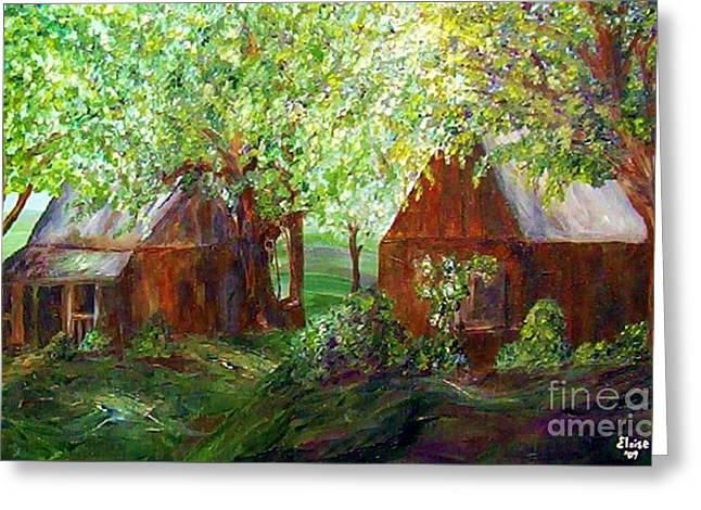 Greeting Card featuring the painting The Old Swing Between The House And The Barn by Eloise Schneider