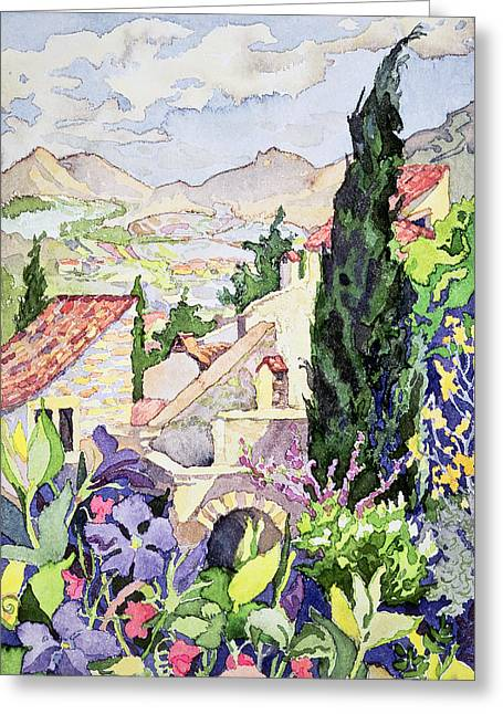The Old Town Vaison Greeting Card by Julia Gibson