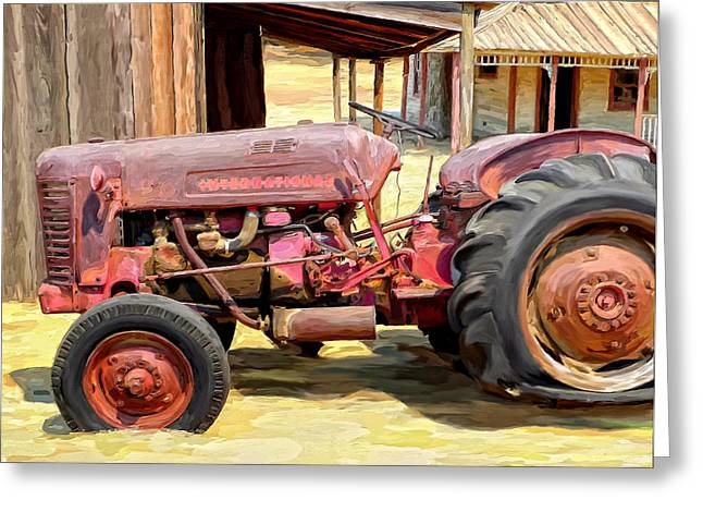 The Old Tractor Greeting Card by Michael Pickett