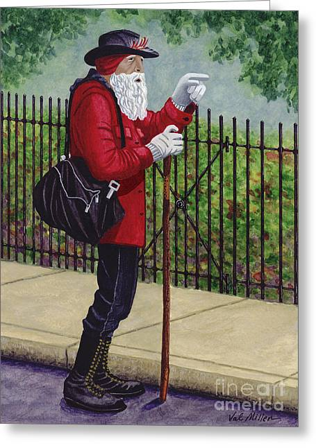 Greeting Card featuring the painting The Old Traveler by Val Miller