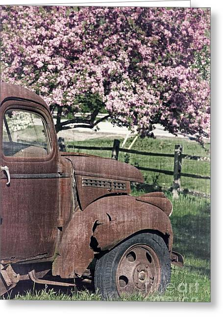 The Old Truck And The Crab Apple Greeting Card by Edward Fielding