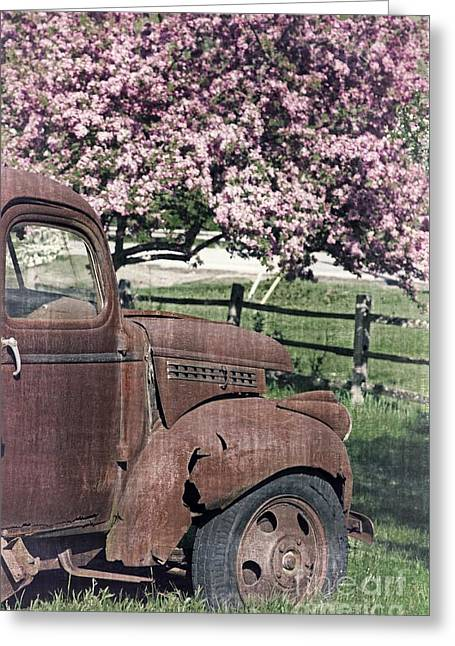 The Old Truck And The Crab Apple Greeting Card