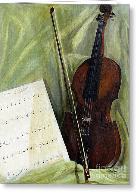 The Old Violin Greeting Card by Sharon Burger