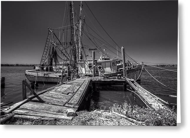 The Old Wharf In Brunswick Greeting Card by Debra and Dave Vanderlaan