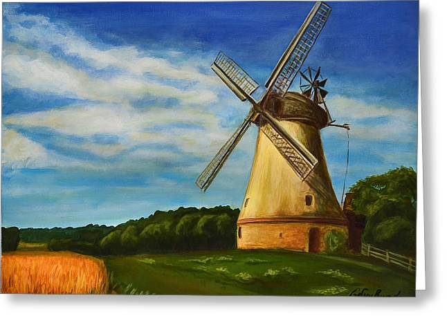 The Old Windmill Greeting Card by Gynt Art