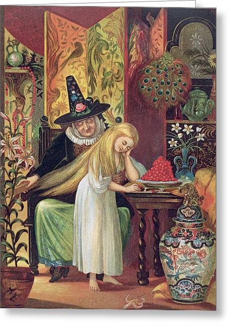 The Old Witch Combing Gerdas Hair Greeting Card by Lorens Frolich