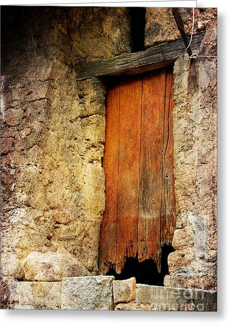 Greeting Card featuring the photograph The Old Wooden Door by Jacqi Elmslie