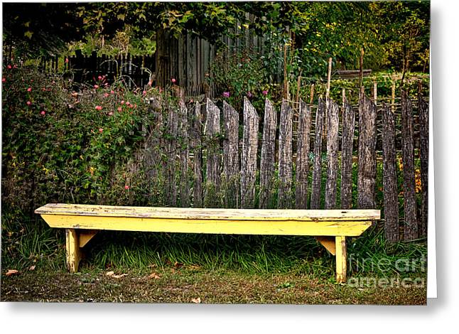 The Old Yellow Garden Bench Greeting Card by Olivier Le Queinec
