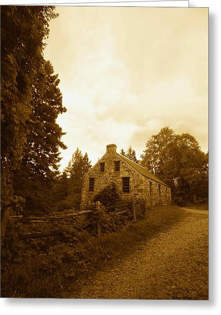 The Olde Stone Cottage Greeting Card by Ron Haist
