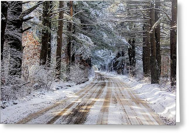 Greeting Card featuring the photograph The Oldest Road After The Snow by Constantine Gregory