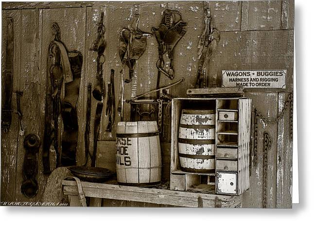 Greeting Card featuring the mixed media The Ole Shop by Elaine Malott
