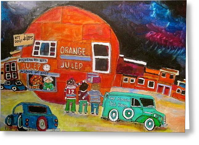 The Orange Julep Modern Tea Room Greeting Card by Michael Litvack