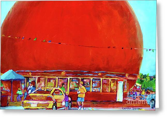 The Orange Julep Montreal Summer City Scene Greeting Card by Carole Spandau