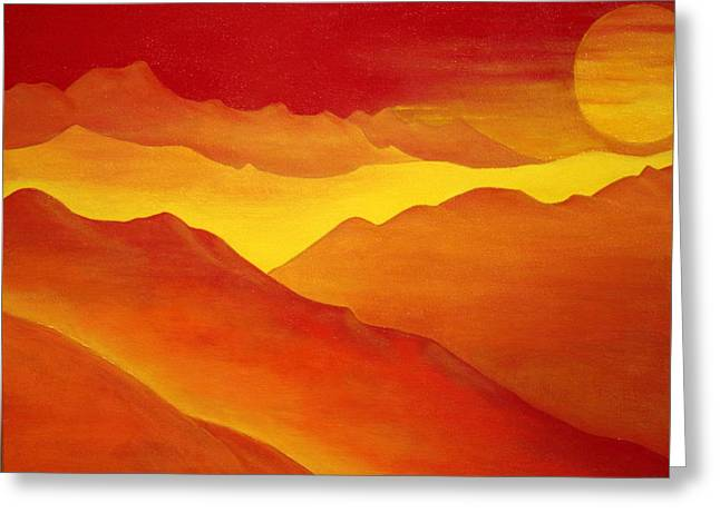 The Orange Mountains Greeting Card by Robert Crooker