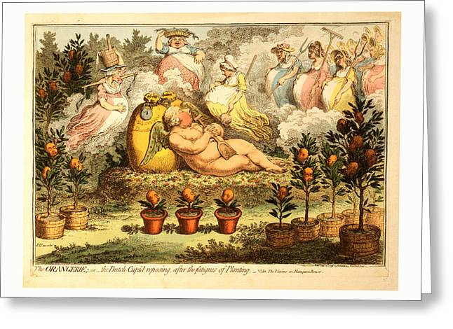 The Orangerie  Or  The Dutch Cupid Reposing Greeting Card