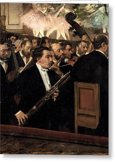 The Orchestra At The Opera Greeting Card by Edgar Degas