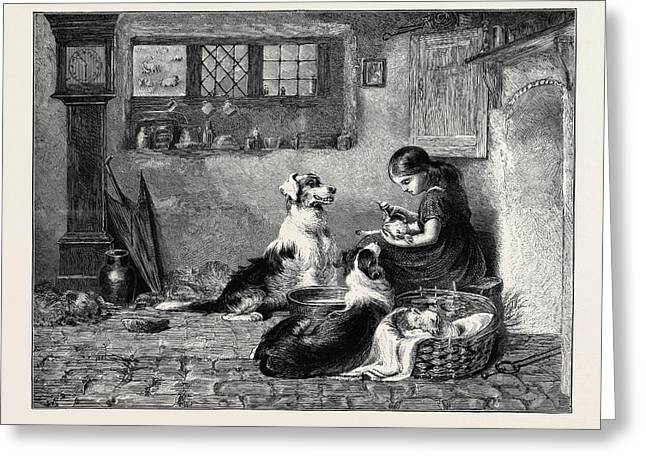 The Orphans, A Drawing In The Dudley Gallery Greeting Card by Riviere, Briton (1840-1920), English