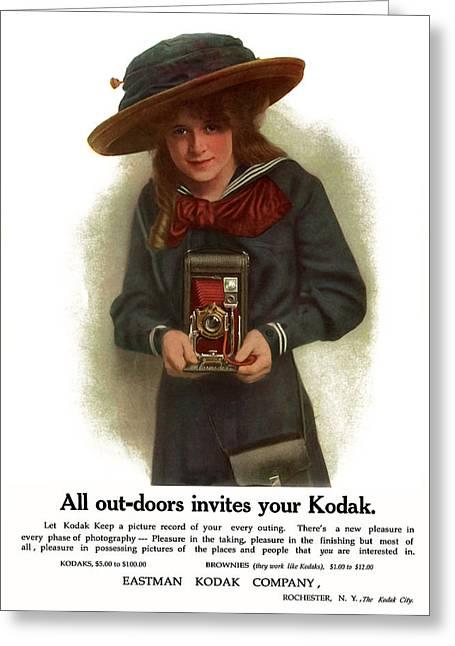 The Outdoor Girl. Circa 1911. Greeting Card