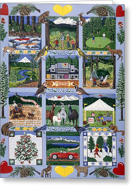 Greeting Card featuring the painting The Outdoor Quilt by Jennifer Lake