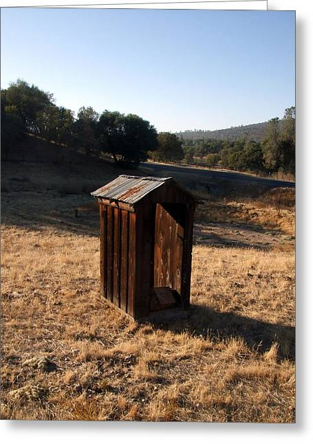 The Outhouse Greeting Card by Richard Reeve