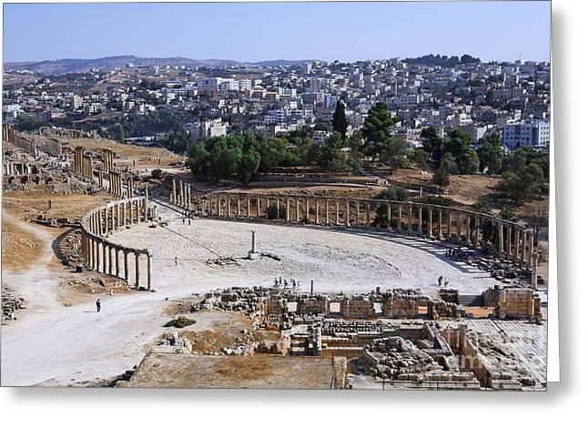 The Oval Plaza At Jerash In Jordan Greeting Card by Robert Preston