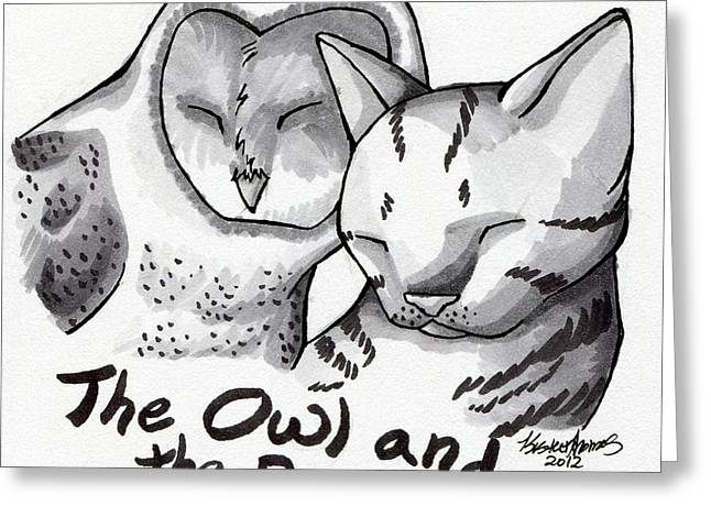 The Owl And The Pussycat Greeting Card by Kirsten Thomas