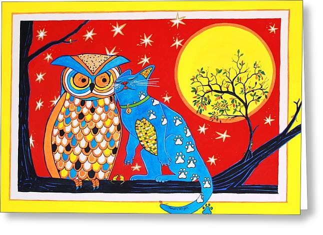 The Owl And The Pussycat Greeting Card by Renata Wright