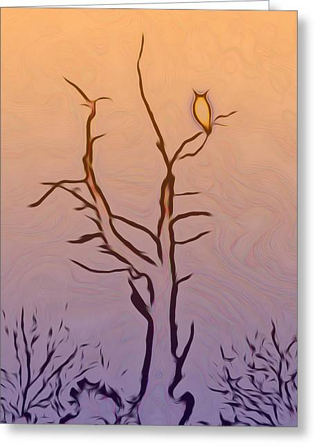 The Owl Digital Art Greeting Card by Ernie Echols
