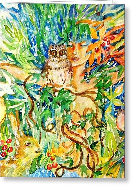 The Owl Whisperer Greeting Card by Trudi Doyle