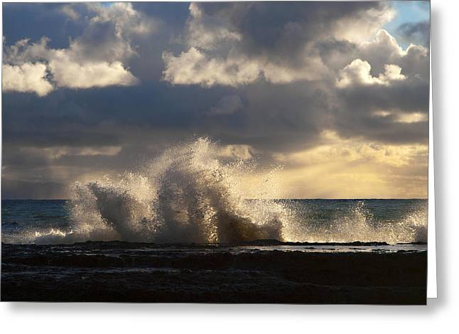 The Pacific Calms Down Greeting Card by Joe Schofield
