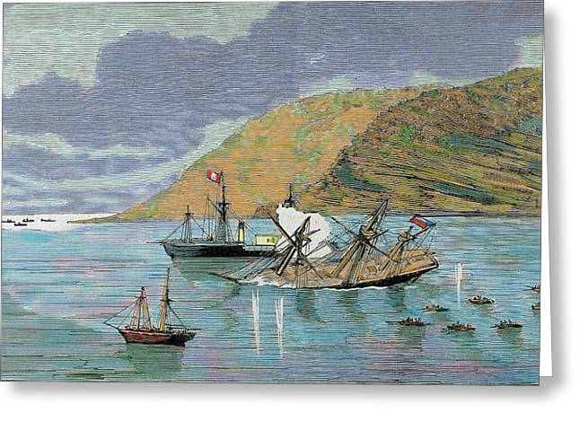 The Pacific War Battle Of Iquique Greeting Card by Prisma Archivo