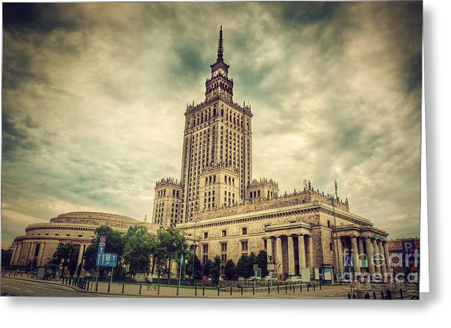The Palace Of Culture And Science Greeting Card by Michal Bednarek