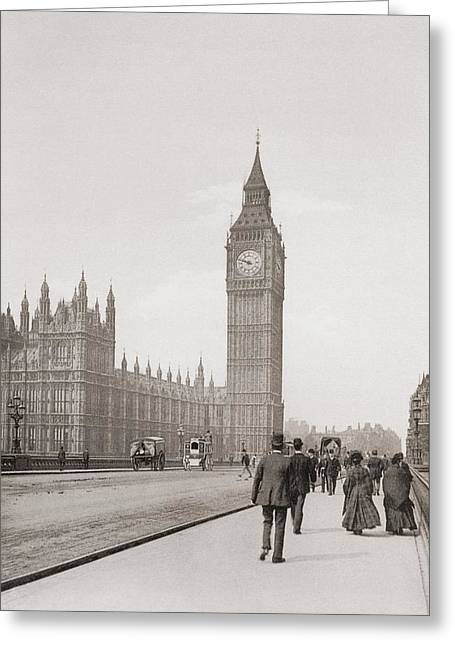 The Palace Of Westminster, Aka The Houses Of Parliament Or Westminster Palace, London, England Greeting Card by English School