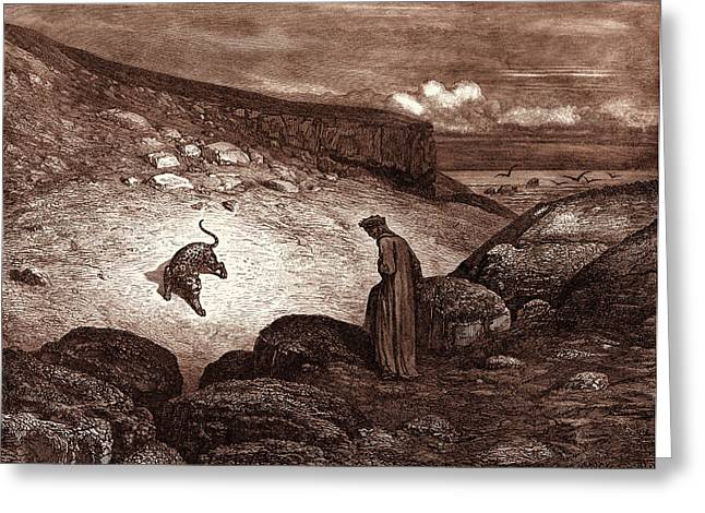The Panther In The Desert, By Gustave Dore Greeting Card