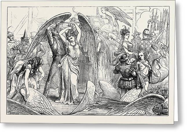 The Pantomimes Preparing For The Transformation Scene 1871 Greeting Card by English School