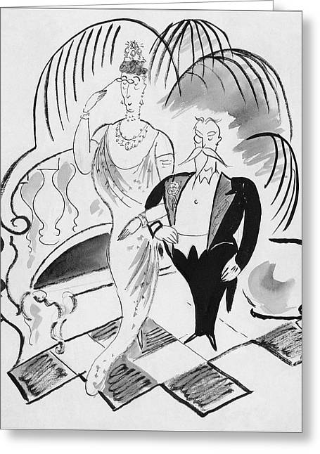 The Parents Of A Debutante At Her Coming Greeting Card by Cecil Beaton