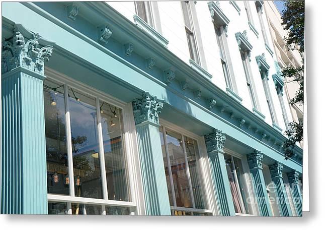 The Paris Market - Savannah Georgia Paris Market - Paris Macaron Shop - Parisian Shop Architecture Greeting Card by Kathy Fornal