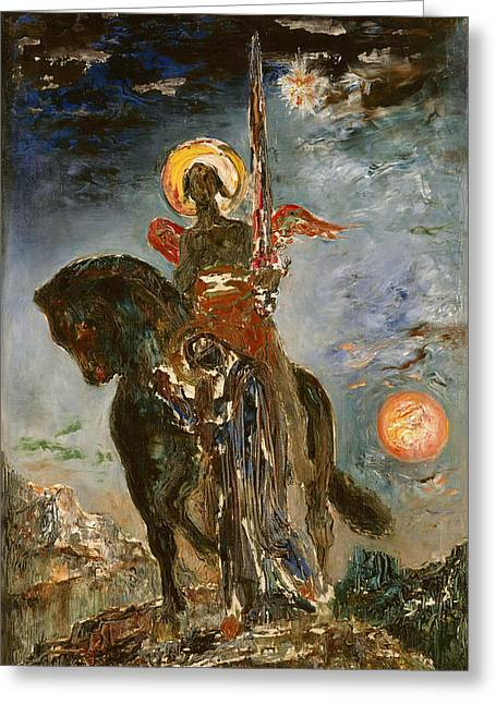 The Park And The Angel Of Death Greeting Card by Gustave Moreau