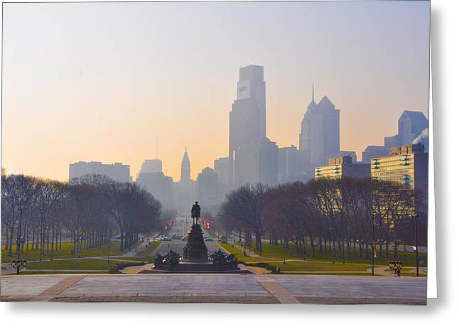 The Parkway In The Morning Greeting Card