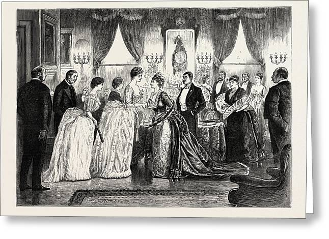 The Party, 1888 Engraving Greeting Card by Du Maurier, George L. (1834-97), English