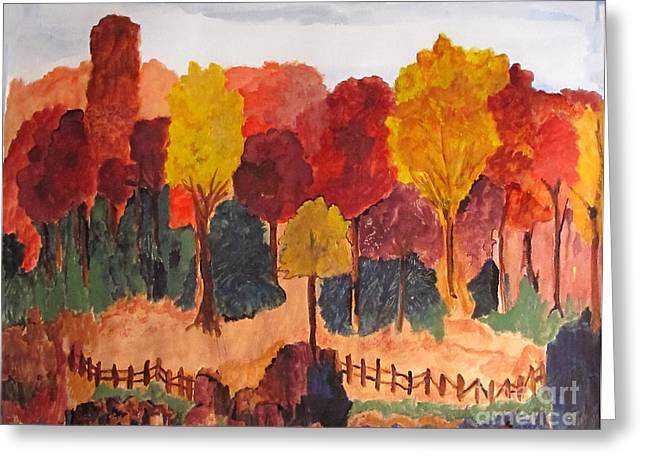 Greeting Card featuring the painting The Pasture In Autumn by Sandy McIntire